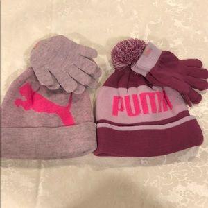 NWT puma kids/ youth hat/ gloves set Size-4-7